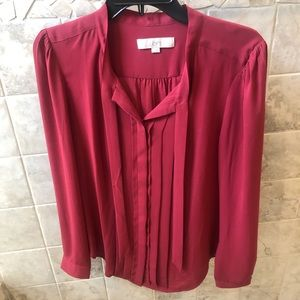 Loft Pleated Tie Neck Blouse-Red